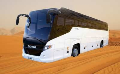 transpot by bus and desert safari tour