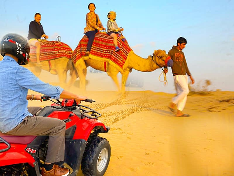 quad biking and camel riding safari Dubai